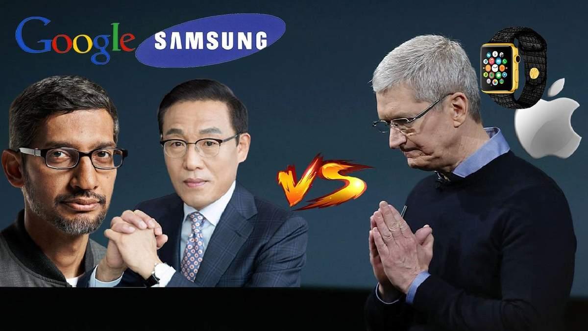 Колаж Google та Samsung проти Apple